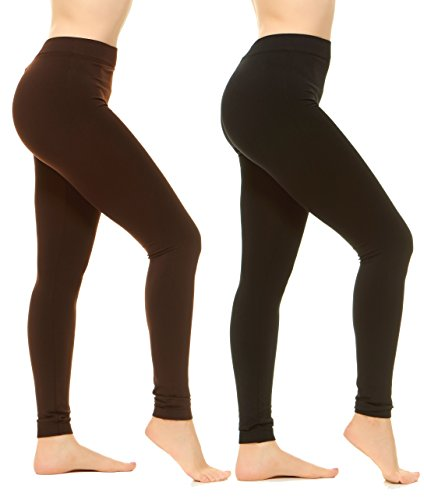 Unique Styles High Waist Leggings for Women Soft Yoga Pants Ribbed Waistband (Plus Size, 2-PK: Black, Brown) by Unique Styles