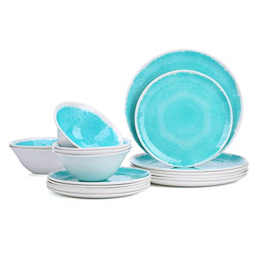 Melamine 18-Piece Dinnerware Set - Hware Dinner Plates Set for Indoor and Outdoor Use Service for 6 Dishwasher Safe Teal  sc 1 st  Plate Dish. & Outdoor Plates Melamine. Melamine 18-Piece Dinnerware Set - Hware ...