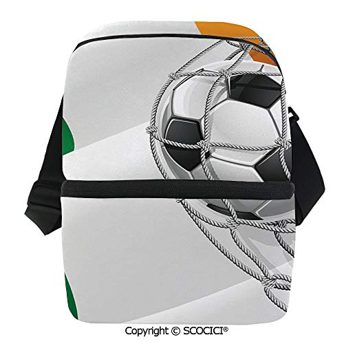 SCOCICI Collapsible Cooler Bag Sports Theme Soccer Ball in a Net Game Goal with Ireland National Flag Victory Win Insulated Soft Lunch Leakproof Cooler Bag for Camping,Picnic,BBQ]()