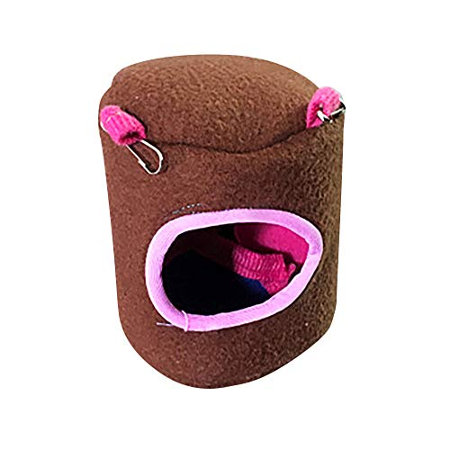 Mikey Store Warm Bed Rat Hammock Squirrel Winter Toys Pet Hamster Cage House Hanging Nest (Brown, -
