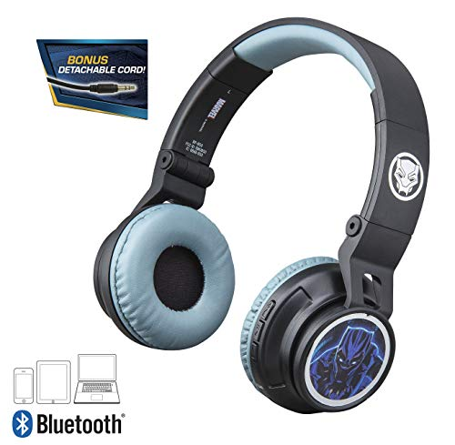 Black Panther Kids Bluetooth Headphones for Kids Wireless Rechargeable Foldable Bluetooth Headphones with Microphone Kid Friendly Sound and Bonus Detachable Cord