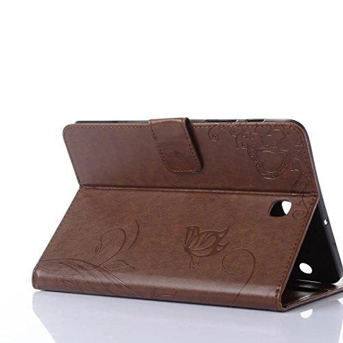 SRY-Funda móvil Samsung Samsung Tab S2 8.0 pulgadas T710 T715 cubierta de la caja, Retro Folio Flip Funda en relieve flores patrón de mariposa Case para Samsung Tab S2 8.0 pulgadas T710 T715 ( Color : Brown