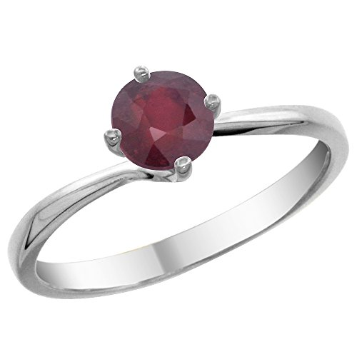 14K White Gold Natural Enhanced Ruby Solitaire Ring Round 6mm, size 6