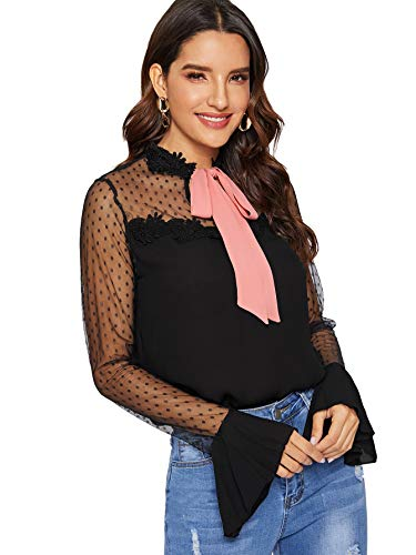WDIRARA Women's Lace Tie Neck Polka Dots Contrast Mesh Flounce Sleeve Blouse Top Black M ()