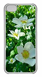 iPhone 5C Case, Personalized Custom White Wild Roses for iPhone 5C PC Clear Case