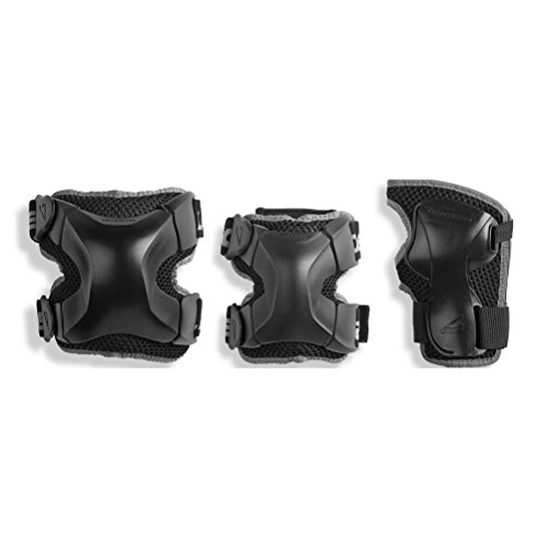 Liner Guard Floor Padding - Rollerblade X Gear 3 Pack Protective Gear, Knee Pads, Elbow Pads and Wrist Guards, Inline Skating, Multi Sport Protection, Unisex, Black