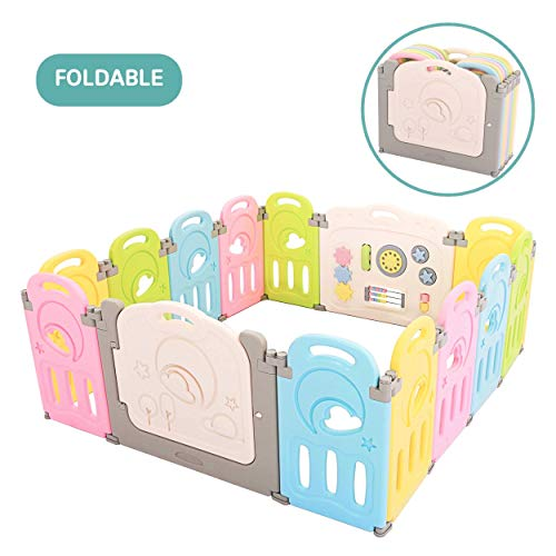 Cloud Castle Foldable Playpen by Classy Kiddie, Baby Safety Play Yard with Whiteboard and Activity Wall, Indoors or Outdoors (Bright Rainbow, 14 Panel)