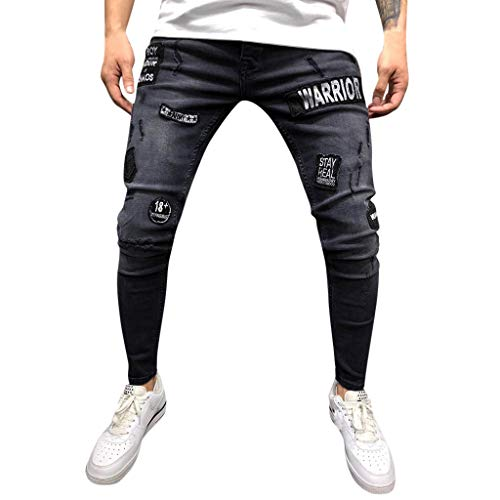 NUWFOR Mens Stretch Denim Pant Distressed Ripped Freyed Slim Fit Pocket Jeans Trousers(Black,US:31/AS:M Waist:31.5″)