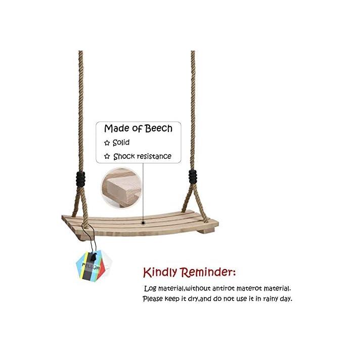 41g2pVIQbuL COLUMPIO DE ARBOL DE MADERA INTERIOR Y EXTERIOR: Nuestro columpio de árbol de madera diseñado con un asiento estriado antideslizante y lados elevados. Cuerda ajustable de 120 cm - 180 cm, anillos y accesorios de metal galvanizado También se puede colgar de una rama de árbol o una viga. El columpio de madera de colores brillantes para adultos y niños ofrece diversión , calidad y gran valor. ALTA CALIDAD: El material de madera natural le brinda seguridad y comodidad. La pintura en la superficie del asiento de madera para columpios puede protegerlo contra el moho antes de jugar afuera. viga.Peso máximo de carga: 100 kg, tamaño del asiento: 45x20x1.6cm / 17.7x7.9x0.6 pulgadas, asiento de silla de columpio grande apto para niños y adultos. Es muy seguro para usted y su familia. DISFRUTE DE LA INFANCIA CON SU FAMILIA: Pellor ¡El columpio de madera es la elección perfecta para satisfacer tu interior juguetón! Adecuado tanto para adultos como para niños promedio, tome un paseo en nuestros columpios para adultos al aire libre dentro de su hogar o patio de juegos, y disfrute de la brisa al aire libre y la sensación despreocupada de la infancia.
