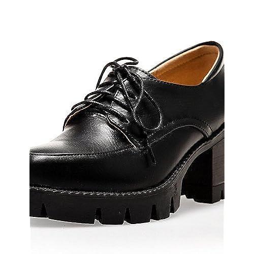 Ggx/femme Chaussures Printemps/été/automne/hiver talons/Plateforme/Bout Rond fête & Soir/robe Chunky Talon à lacets