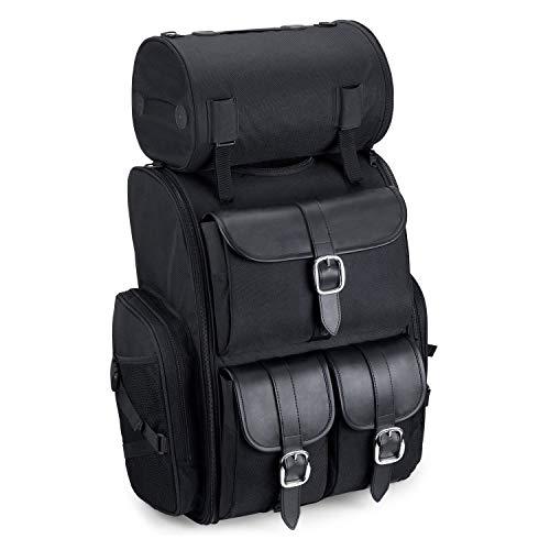 Viking Bags Extra Large Universal Fit Motorcycle Sissy Bar Bag (Black, PLain)