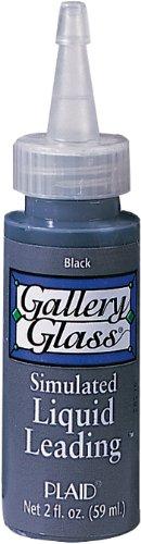 Gallery Glass Plaid Simulated Liquid Leading (2-Ounce), 16025 Classic Black ()