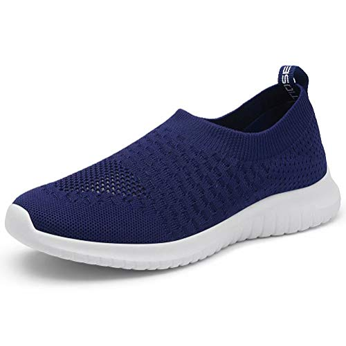 konhill Women's Walking Tennis Shoes - Lightweight Athletic Casual Gym Slip on Sneakers 7.5 US Navy,38
