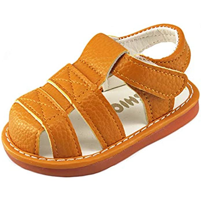 Baby Boy Girl Summer Infant Squeaky Sandals Premium Rubber Sole Closed-Toe Non-Slip Shoes Toddler First Walkers