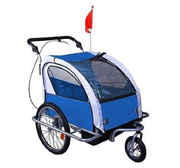 Homcom Remorque enfant 2 en 1 à fixer au vélo ou à pousser pour les coureurs Rotation possible à 360° 61-0003