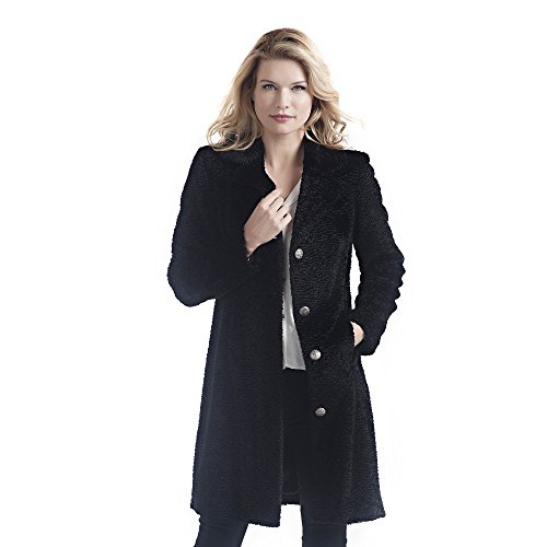 (Donna Salyers' Fabulous-Furs Tailored Knee Length Faux Fur Coat (Black Persian Lamb, Large))