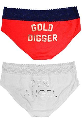 Victoria Secret Blue Red Gold Digger/White Angel 99% Low-rise Hiphugger 2 Pack (Large) - Angel Hugger