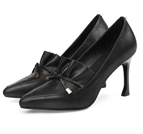 Arc Chaussure Femmes Tribunal Doux Haute Fermé Boîte Stylet Pied Noir Fête Marron Attacher Talon Doigt NVXIE de Chaussures EUR38UK55 de Nuit BLACK Cuir Pompes Robe FqCxwx7P