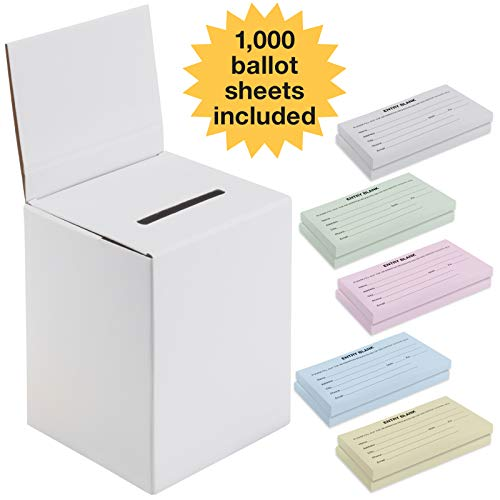 Large Ballot Box/Charity Box/Suggestion Box/Includes 1000 Entry Sheets/Use for raffles, Lead Generation, Collecting Business Cards, Voting, contests, suggestions