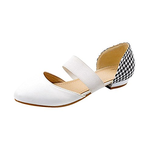 Carolbar Womens Bungee Fashion Hounds-Tooth Print Pointed Toe Elegance Low Heel Sandals Shoes White UjQQvTzy