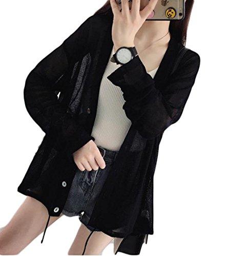 ZhongJue(ジュージェン) レディース カーディガン 長袖 薄手 ゆったり UVカット 日焼け止め アウター 冷房対策 黒 白