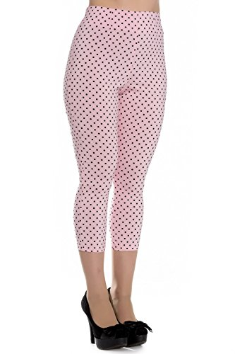 (Hell Bunny Pink Kay Polka Dot 50s Vintage Style Capri Trousers 3/4 Pedal Pushers - (M))