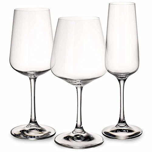 Glass Wine Crystal Lead (Villeroy & Boch Ovid Wine Glass Set of 12 - 4 Red, 4 White, 4 Champagne)