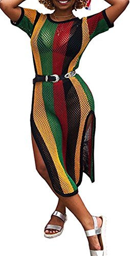 Speedle Womens Round Neck Short Sleeves Colorful Stripe Side Split Fishnet Cover up Dress Floral 1 XL