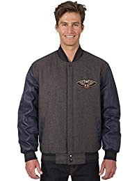 New Orleans Pelicans NBA Jacket Wool Leather Sleeves Reversible Embroidered Logos
