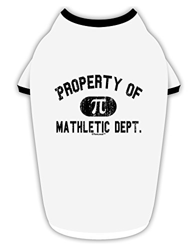 TooLoud Mathletic Department Distressed Cotton Dog Shirt White with Black Large