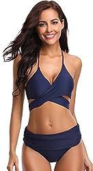 Shekini Women S Push Up Halter Bandage Ruched High Waisted Bottoms Bikini Swimsuits Small Deep Blue