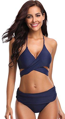(SHEKINI Women's Push-up Halter Bandage Ruched High Waisted Bottoms Bikini Swimsuits (Small, Deep Blue))