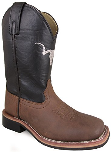 - Smoky Mountain Children's The Bull Two-Tone Leather Square Toe Brown Distress/Black Boots 9M