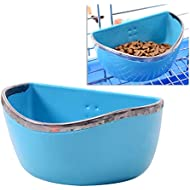 POPETPOP Bunny Feeder-Food/Water/Hay Bowl Dish for Rabbit Guinea Pig Chinchilla Hamster Ferret,Rabbit Feeders Hanging-Blue or Red