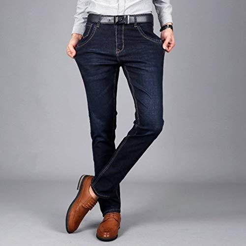 Dritti Slim Vintage Denim Pantaloni Blaublack Fit Tempo Libero Uomo Moda Jeans Stretch Per Il vwqwUSY