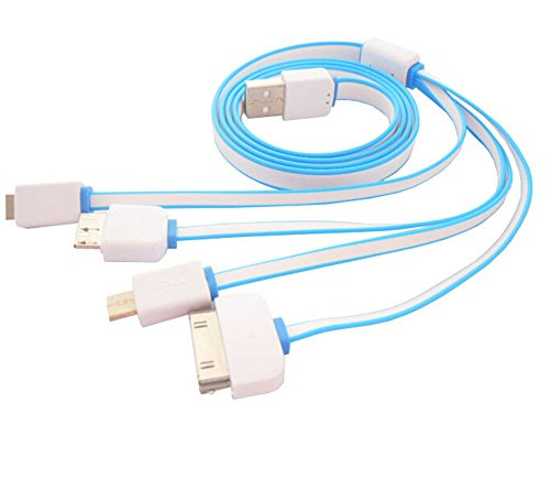 USB Charging Cable,4-IN-1 Premium Quality USB Adapter Charging Cable for Iphone 6 Plus, 6, 5s 4 4s,Android Smart Phones and Tablets (white&blue)