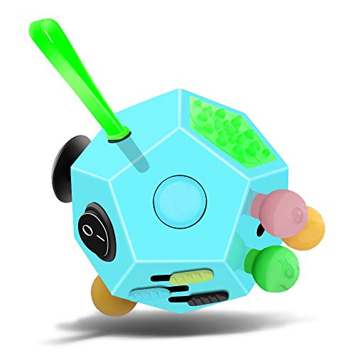 Minilopa Fidget Dodecagon –12-Side Fidget Cube Relieves Stress and Anxiety Anti Depression Cube for Children and Adults with ADHD ADD OCD Autism (B3 Blue Sky)