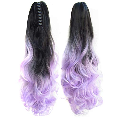 Beauty Wig World 21inch 55cm 100g Two Tone Long Wave Curly Woman Claw Clip Ponytail Clip on/in Hair Extensions (Black to Lilac) from Beauty Wig World