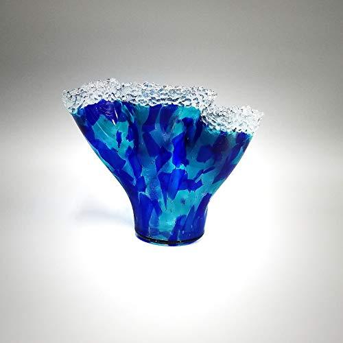 (Glass Art Organic Sculptured Waterfall Wave Vase in Cobalt Blue Aqua)