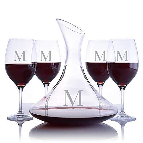 Merlot Magnum - Personalized Ravenscroft Lead-free Crystal Ultra Magnum Decanter & 4 Stemmed Vintner's Choice Bordeaux/Merlot/Cabernet Red Wine Glasses Engraved & Monogrammed - Great Gift for Weddings