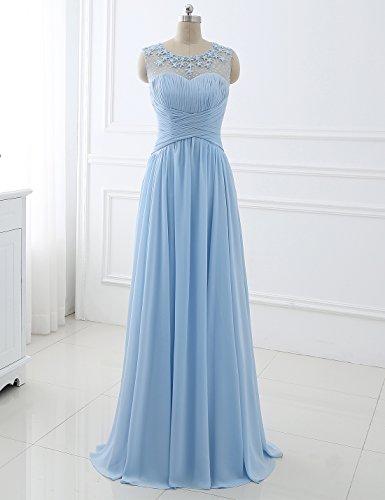 Blume Blau Erosebridal Chiffon Rüschen Abendkleid mit Bodenlänge 4CXqWpqwxF