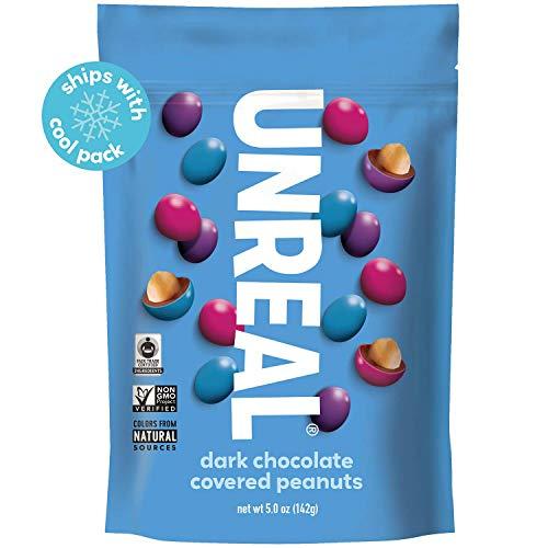 UNREAL Dark Chocolate Peanut Gems | Non-GMO, Vegan Certified, Colors from Nature | 6 Bags (Unreal Dark Chocolate Crispy Quinoa Peanut Butter Cups)