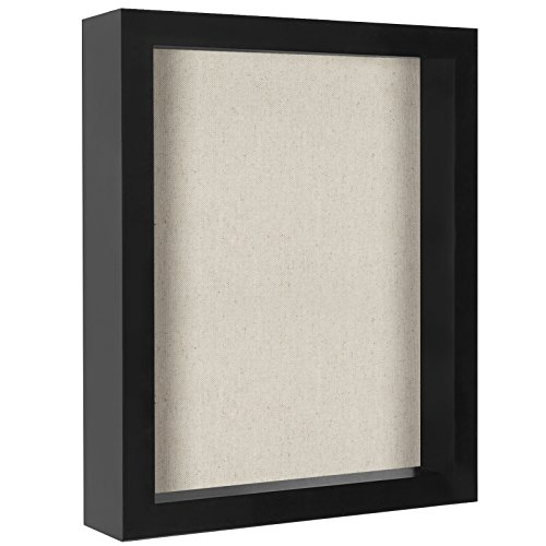Americanflat 8.5x11 Document Shadow Box Frame - Soft Linen Back - Perfect to Display Memorabilia, Pins, Awards, Medals, Tickets, Photos by Americanflat
