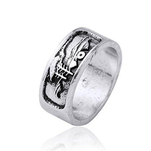 Sunrise Mountain Sailing Boat Gothic Style Amulet Rune Punk Men Wedding Rings(size 7.5) (Skyrim Wedding Ring)