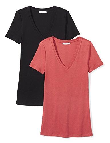 (Daily Ritual Women's Midweight 100% Supima Cotton Rib Knit Short-Sleeve V-Neck T-Shirt, 2-Pack, L, Black/Cardinal Red)