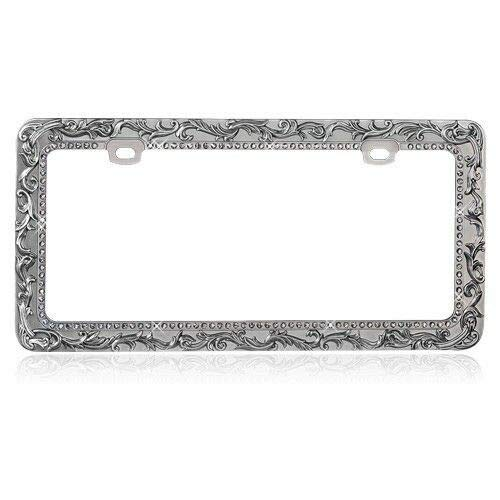- Billion_Store Vintage Lace License Plate Frame with T-Smoke Crystal Rhinestones Best Accessories for Tuning