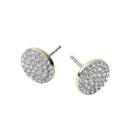 Michael Kors MKJ3895 Gold Tone Disc Stud Earrings with Crystal Pave