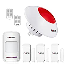Fuers 110db Loud Standalone Indoor Strobe Flashing Siren Door and Window Spot Alarm System DIY Kit, Wireless Home Security Burglar Alarm System,Keyfob Remotes and Motion Detector