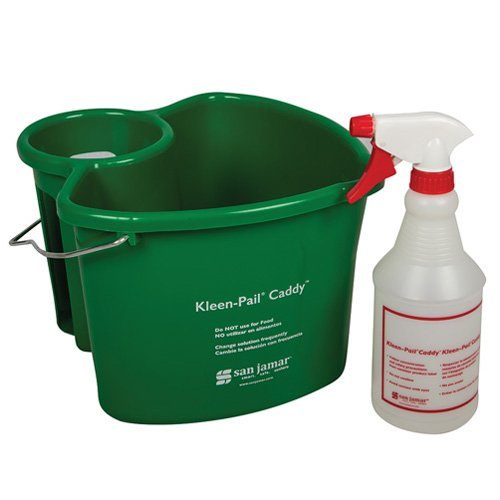 San Jamar KP500 Kleen-Pail Commercial Cleaning Caddy System, Green