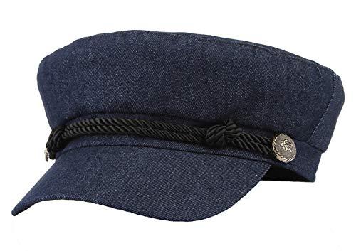 Gemvie Unisex Flat Hat Breton Sailor Cap British Fiddler Cap Flat Cabbie Cap
